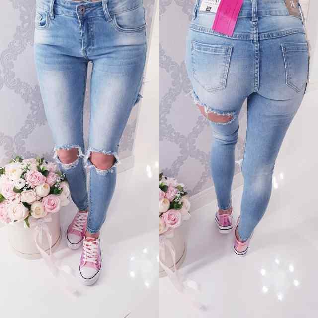 Strech teksapüksid, põlvedel ja tagant kulutatud