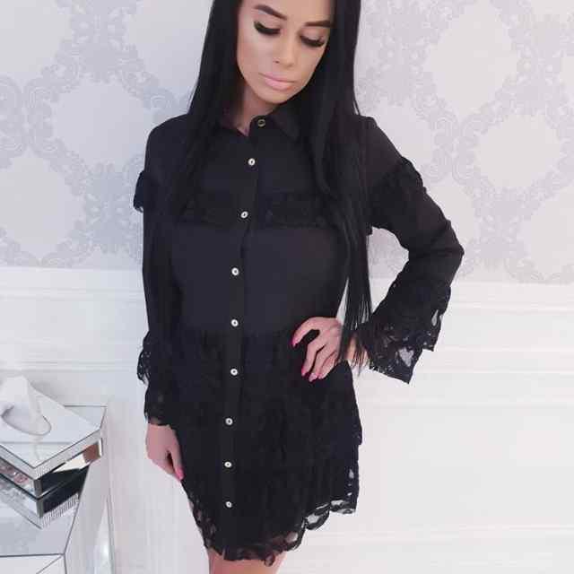 Kvaliteetne must kleit pitsiliste volangidega