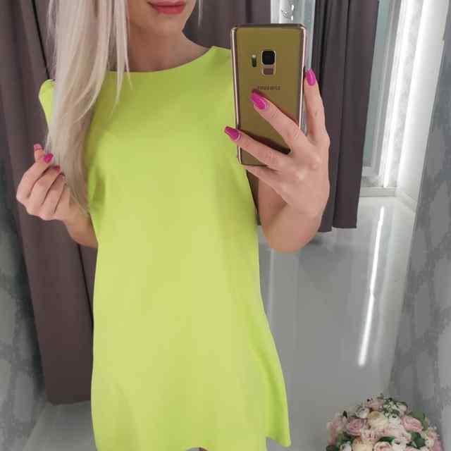 Kvaliteetne  A-lõikeline kleit, rohekas-kollane