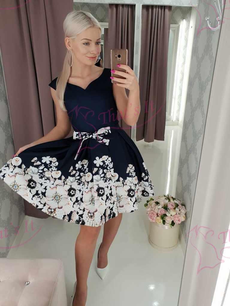 Tumesinine puhvis seelikuosaga pidulik kleit taskutega( vöö on eemaldatav)