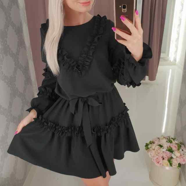 Must volangidega kleit