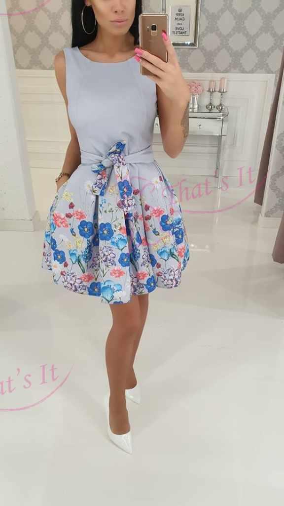 Lillakas puhvis seelikuosaga kleit, vöö eemaldatav(seotav), taskutega
