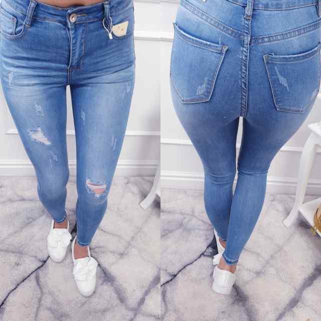 Strech kangast teksapüksid õrna kulutusega