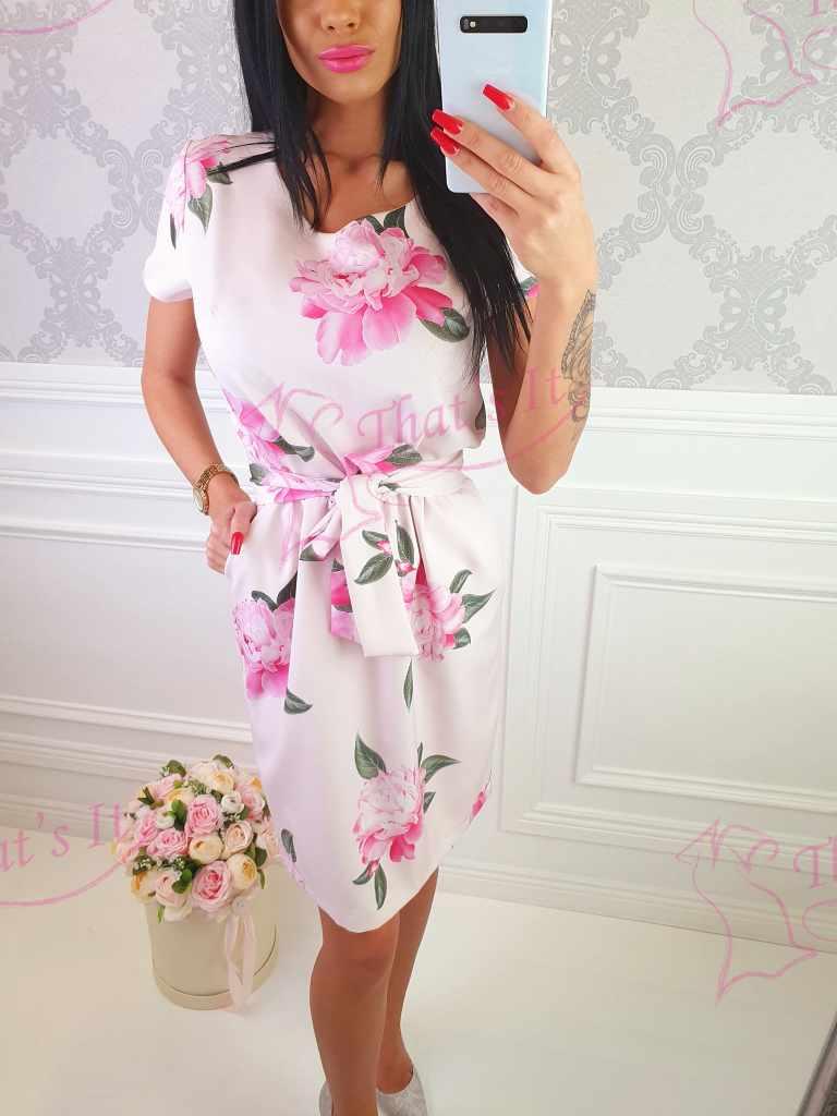 Naiselik vööga kleit, roosa põhjaga