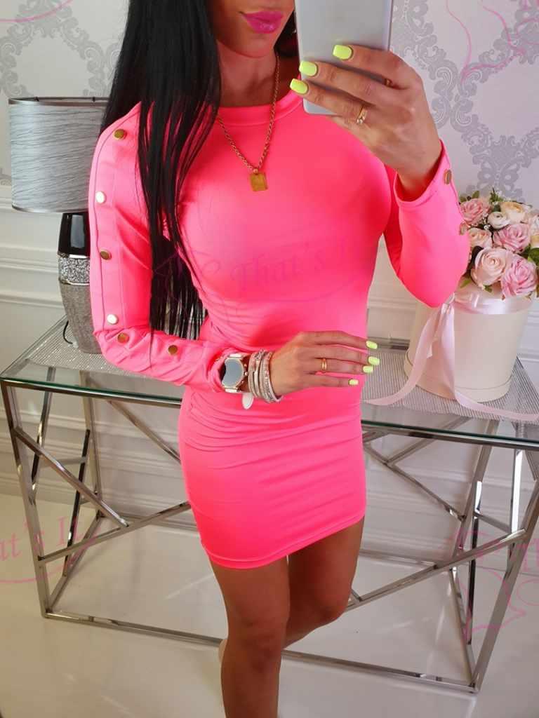 Libedast materjalist kleit, neoonroosa