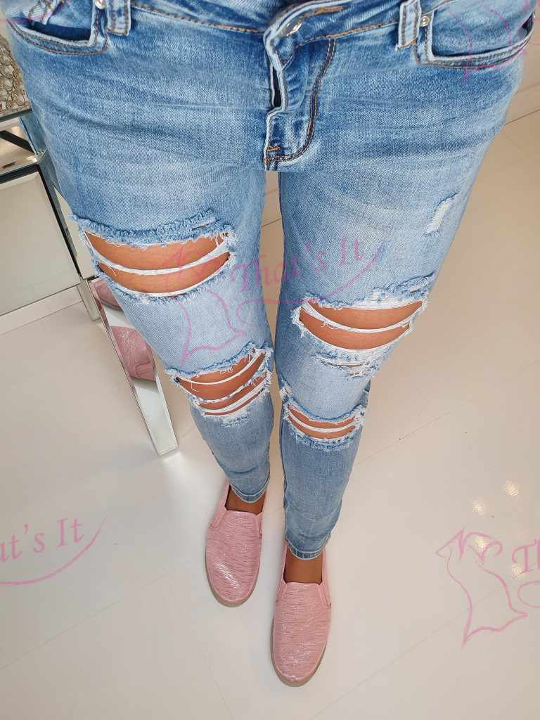 Strech teksapüksid kulutusega, e353