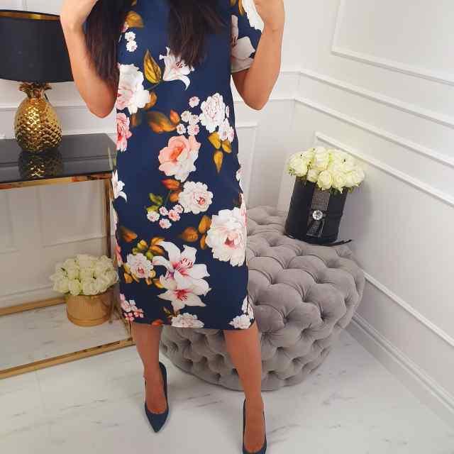 Armas lilleline pikem kleit, midi pikkus