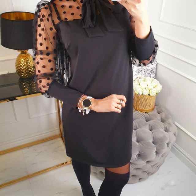 Tüllist varrukatega stiilne A-lõikeline kleit