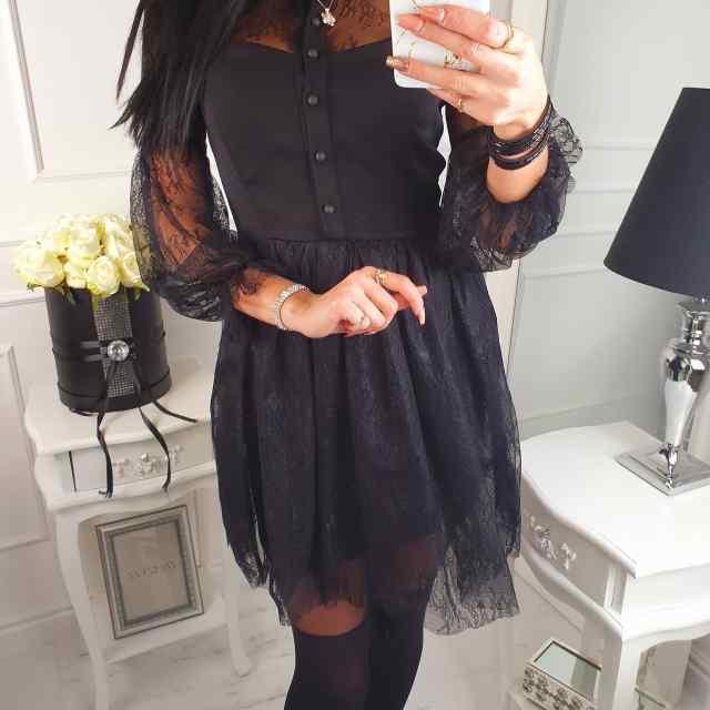 Kvaliteetne kleit eest nööpidega, seelikuosaga tüllikangas, varrukad õhulised