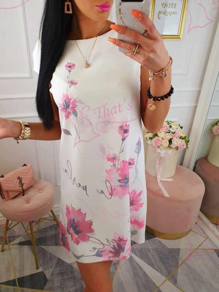A lõikega kvaliteetne roosade rukkililledega kleit