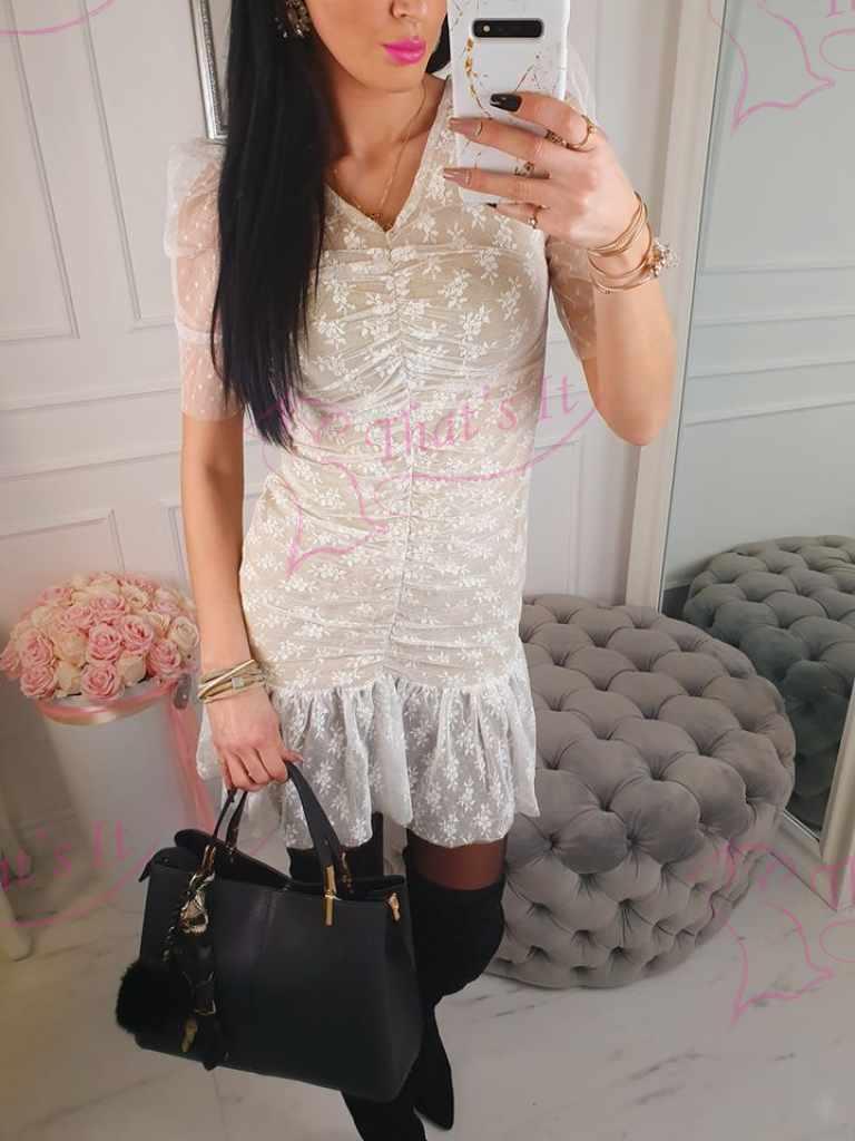 Pitsist kleit puhvis varrukatega