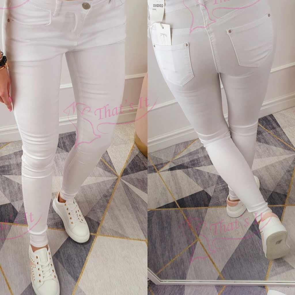 Klassikalised valged teksapüksid Q550-2 Sobivad ka pikemale.