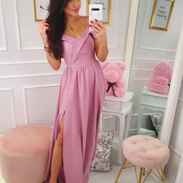 Õlapaeltega kaunis lõhikuga kleit