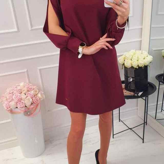 Kvaliteetne A-lõikeline kleit avatud varrukatega