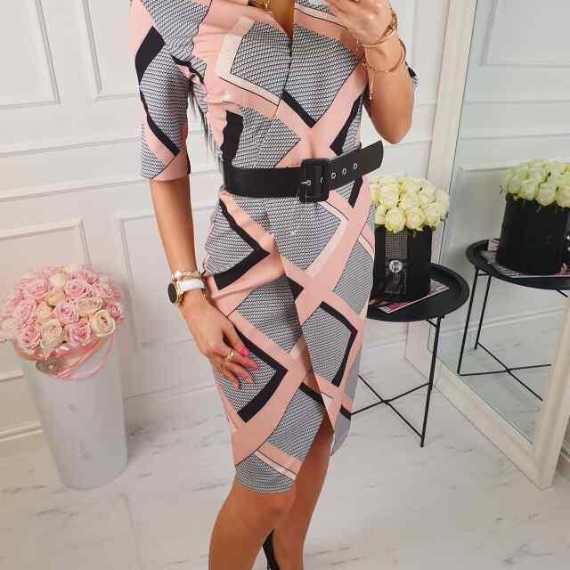 Kvaliteetne tagant peidetud lukuga naiselik vööga kleit