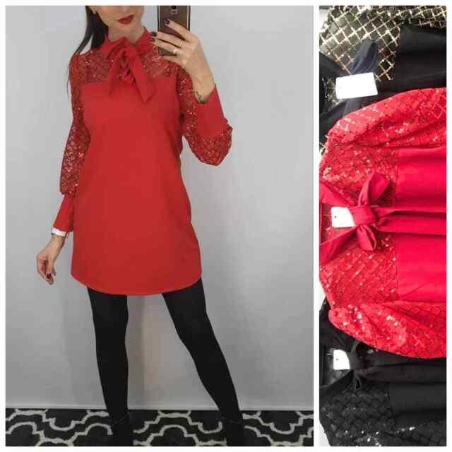 Punane - Eest lipsuga seotav kleit, varrukad tüllist ja litritega kaunistatud