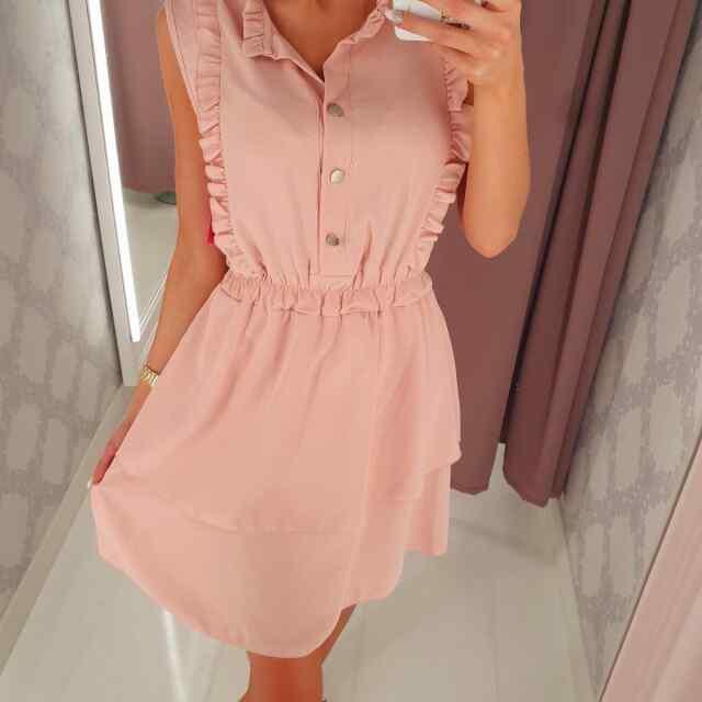Keskelt kummiga armas satsidega kleit