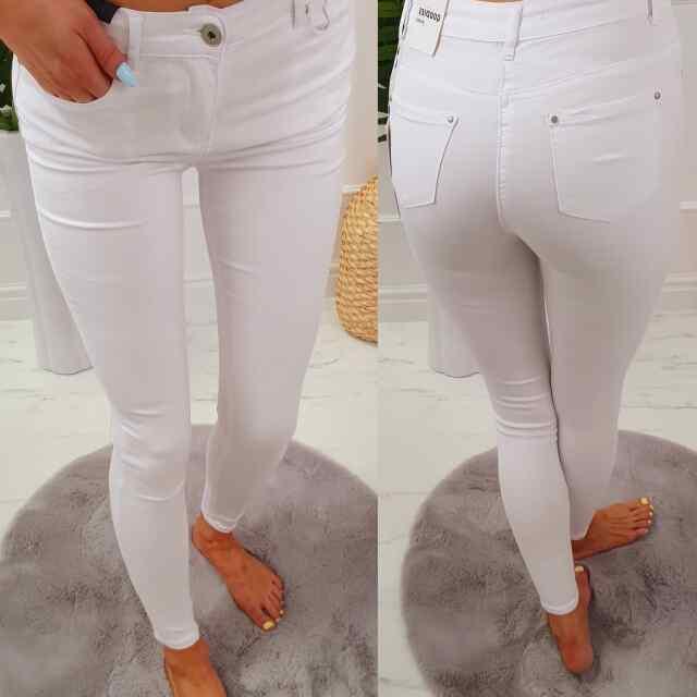 Klassikalised valged strechid teksad Q602-2