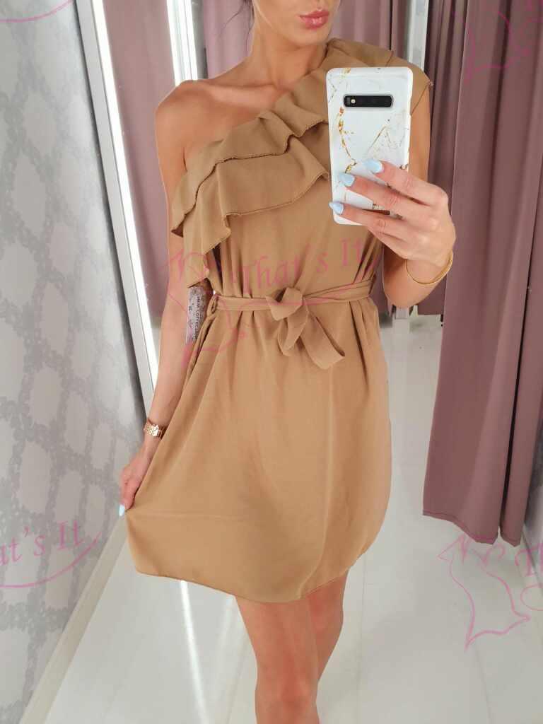 Keskelt paelaga reguleeritav ühel õlal kantav kleit