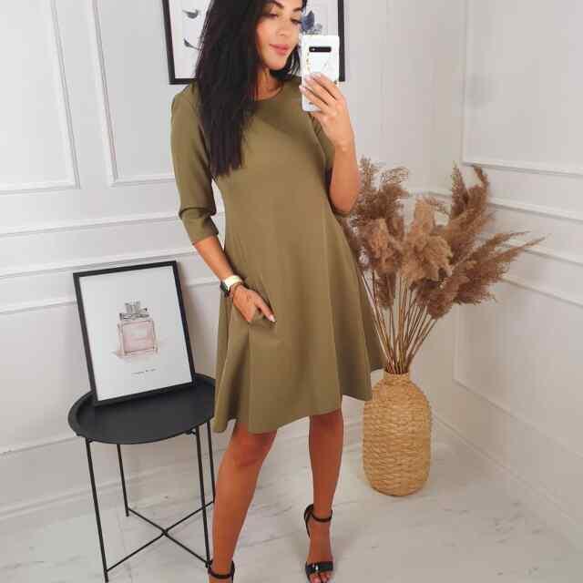 A-lõikeline populaarne kvaliteetne kleit taskutega, taga lukk