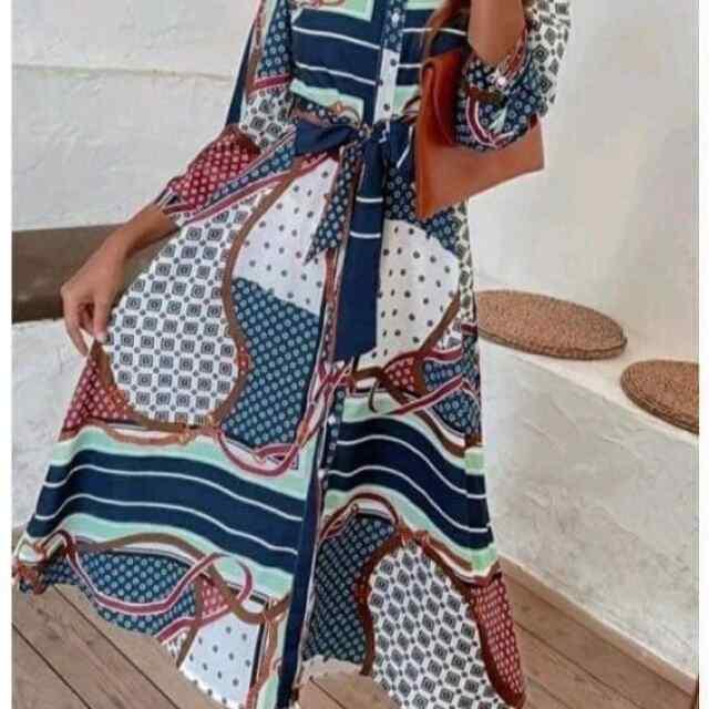 Pikk kleit vööga ja nööpidega!