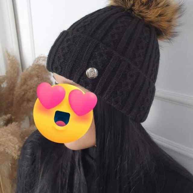 Väga soojast materjalist naturaalkarvaga müts